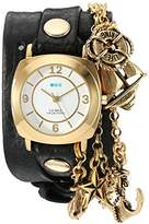 La Mer Women's 'Nautical Charms' Quartz Gold-Tone and Leather Automatic Watch, Color:Green (Model: LMCW2016362-BLK)