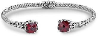 Samuel B. 18K & Sterling Silver 4.20 Ct. Tw. Garnet Hinged Bangle Bracelet