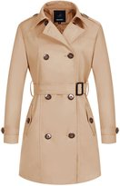 Wantdo Women's Double-Breasted Trench Coat with Belt(,US L)