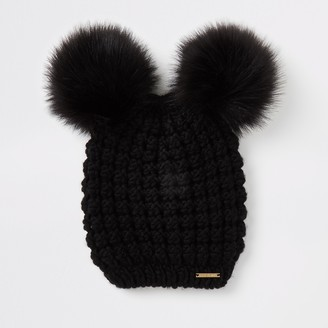 River Island Womens Black faux fur pom pom knitted hat