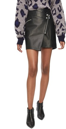 Anine Bing Sarah Zip Front Leather Miniskirt