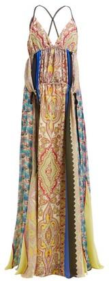 Etro Hanalei Bay Panelled Paisley-print Silk Maxi Dress - Womens - Multi