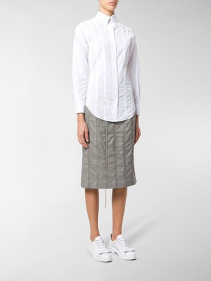 Thom Browne Lace-up Back Long Sleeve Button Down Point Collar Shirt In Solid Poplin
