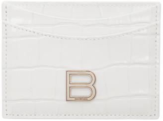 Balenciaga White Croc Hourglass Card Holder