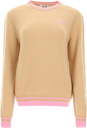 MSGM SWEATER WITH LOGO EMBROIDERY L Beige, Pink Wool, Cashmere