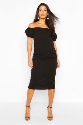 boohoo Maternity Off The Shoulder Puff Sleeve Midi Dress