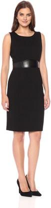 Kasper Women's Compression Ponte Sheath Dress W/Faux Leather Detailing