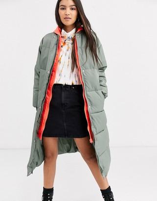 Asos DESIGN longline puffer coat with contrast hood in sage
