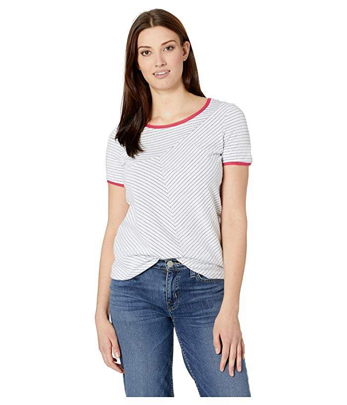 Tribal Jacquard Stripe Knit Short Sleeve Crew Neck Top with Mesh Trims