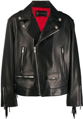 Versace Fringed Leather Biker Jacket
