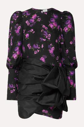Magda Butrym Matera Crystal-embellished Floral-print Silk-chiffon And Gathered Taffeta Mini Dress - Black