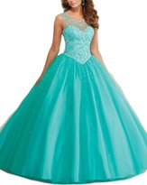 Firose Cap Sleeves Tulle Long Pearls Sheer Neckline Quinceanera Prom Dresses 2016
