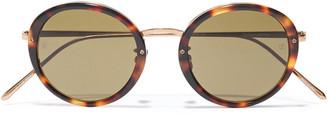 Linda Farrow Round-frame Rose Gold-tone And Tortoiseshell Acetate Sunglasses