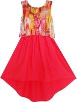 Sunny Fashion JK31 Girls Dress Lace Book Printed Tied Waist School