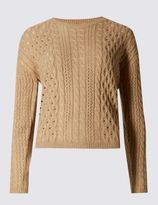 Marks and Spencer Button Back Cable Knit Jumper