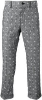 Sacai aloha embroidered trousers - men - Cotton - 3