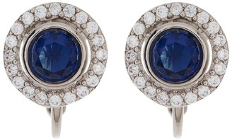 Carolee Crystal Pave & Stone Round Button Stud Clip-On Earrings