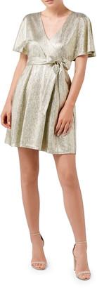 Ever New Foiled Jersey Mock-Wrap Kimono Sleeve Dress