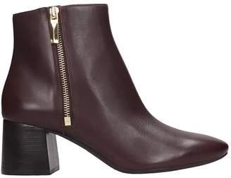 Michael Kors Alane Flex Low Heels Ankle Boots In Bordeaux Leather