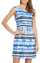 Tahari Petite Women's Ikat Print Linen Blend Sheath Dress