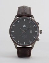 Asos Watch In Brown And Gunmetal With Date Window