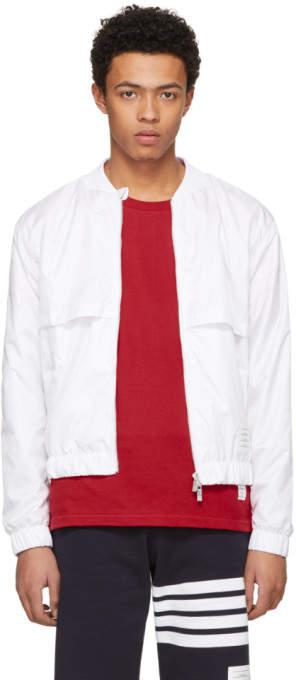 Thom Browne White Ripstop Bomber Jacket