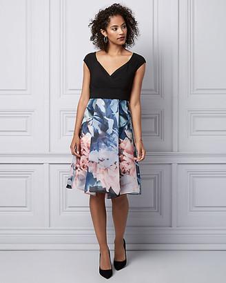 Le Château Floral Print Organza Cocktail Dress