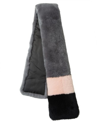 Surell Dyed Rex Rabbit Fur Color Black Scarf
