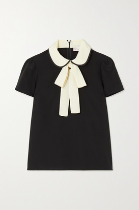 RED Valentino Two-tone Pussy-bow Silk Blouse - Black