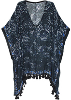 Elizabeth Gillett Abstract Poncho with Tassels