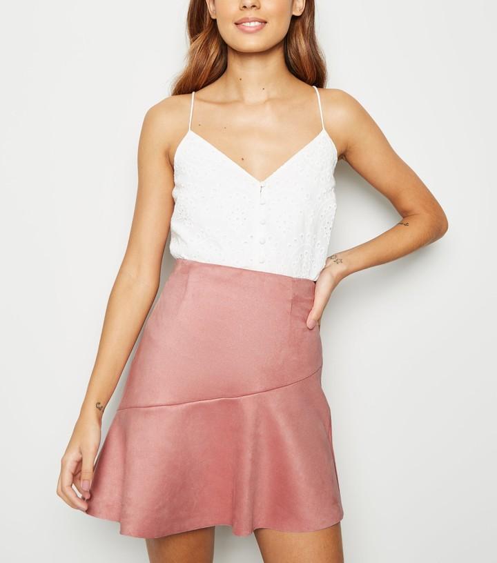 New Look Suedette Asymmetric Mini Skirt