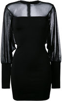 Balmain sheer panel fitted dress - women - Polyamide/Spandex/Elastane/Viscose - 36