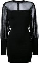Balmain sheer panel fitted dress - women - Polyamide/Spandex/Elastane/Viscose - 38
