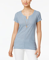 Style&Co. Style & Co Ribbed High-Low T-Shirt, Created for Macy's