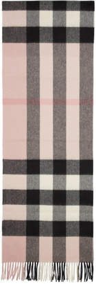 Burberry Pink Cashmere Half Mega Check Scarf