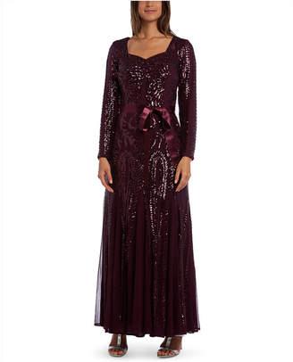 R & M Richards Embellished Godet Gown