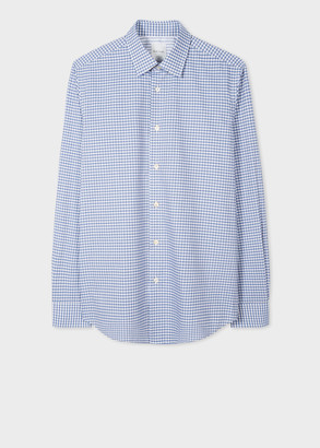 Paul Smith Men's Tailored-Fit Blue Gingham Check Shirt With Contrast Cuff Lining