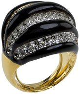 Kenneth Jay Lane Women's Gold Plated Black Ribbed Dome Ring Size - P