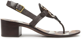 Tory Burch Printed Laser-cut Leather Slingback Sandals