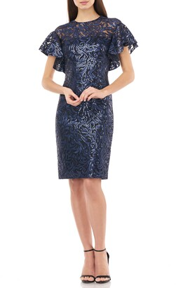 Carmen Marc Valvo Sequin Embroidered Cocktail Dress