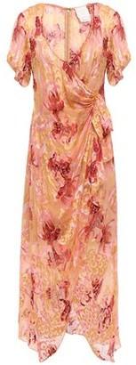 Anna Sui Wrap-effect Floral-print Fil Coupe Silk-blend Midi Dress