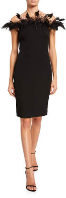 Badgley Mischka Off-The-Shoulder Crepe Sheath Dress w/ Feathers