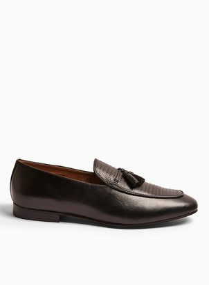 Topman HUDSON Black Leather Bolton Tassel Loafers