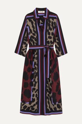 Diane von Furstenberg Sogol Belted Printed Silk Crepe De Chine Midi Dress - Red
