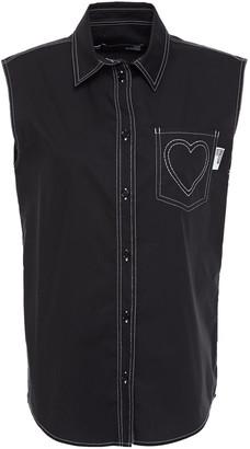 Love Moschino Embroidered Cotton-blend Poplin Shirt