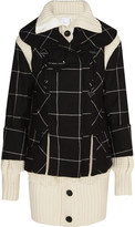Sacai Three-piece checked and waffle-knit wool coat