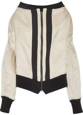 Ann Demeulemeester Grosgrain-Trimmed Linen And Silk-Blend Bomber Jacket