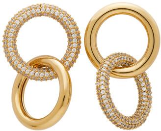 Numbering Gold and Silver Crystal 982 Hoop Earrings