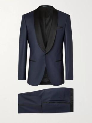 HUGO BOSS Slim-Fit Satin-Trimmed Herringbone Virgin Wool-Blend Tuxedo - Men - Blue