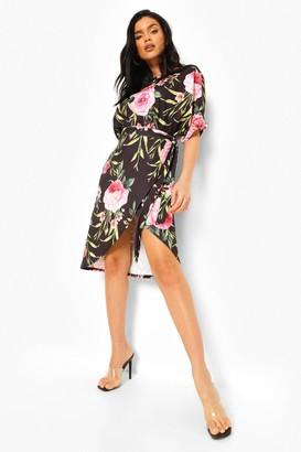 boohoo Floral Wrap Tie Waist Midi Dress
